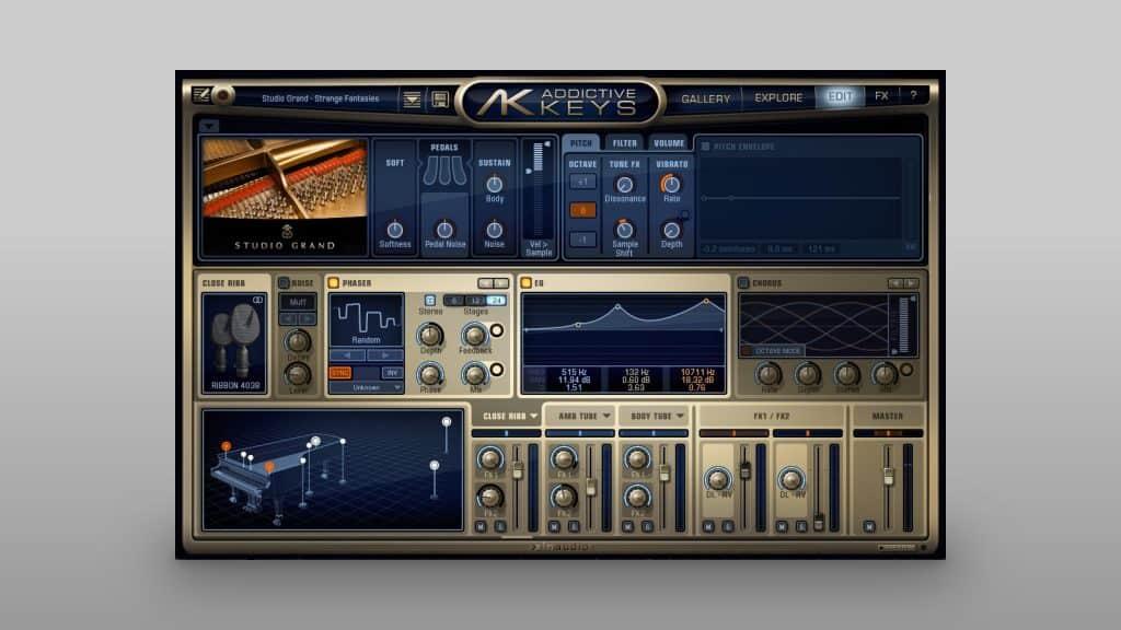 XLN Audio Addictive Keys bietet vielseitige Edit-Möglichkeiten zur Klanggestaltung