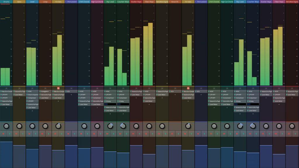 Die Mixer-Ansicht der Free-DAW Waveform.
