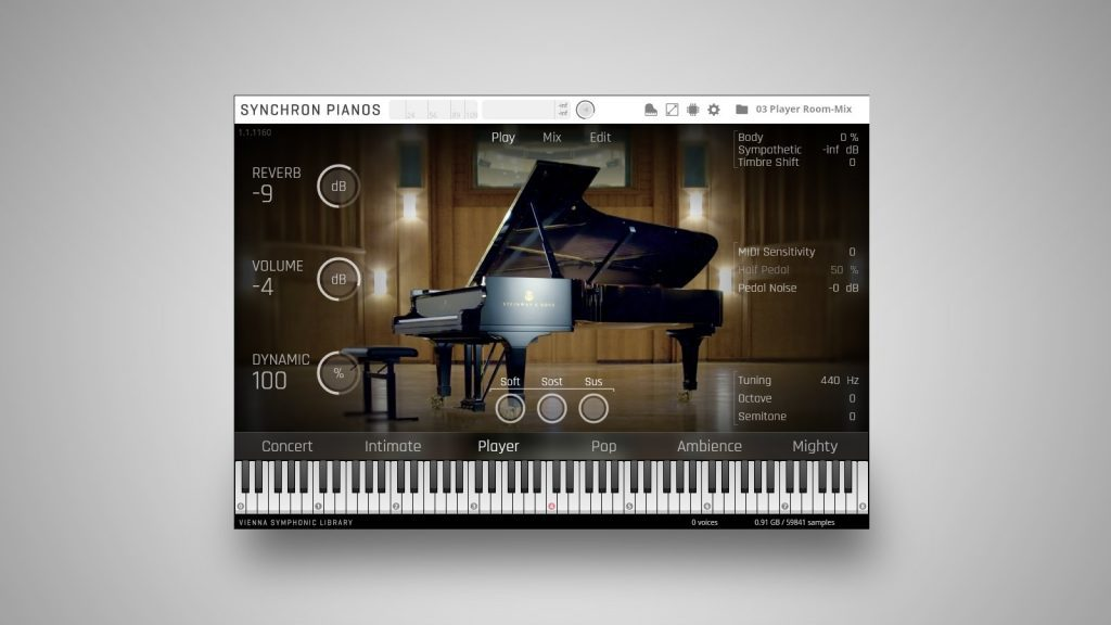VSL Vienna Synchron Concert D-274 Piano-Library: Hauptansicht des Software-Instruments