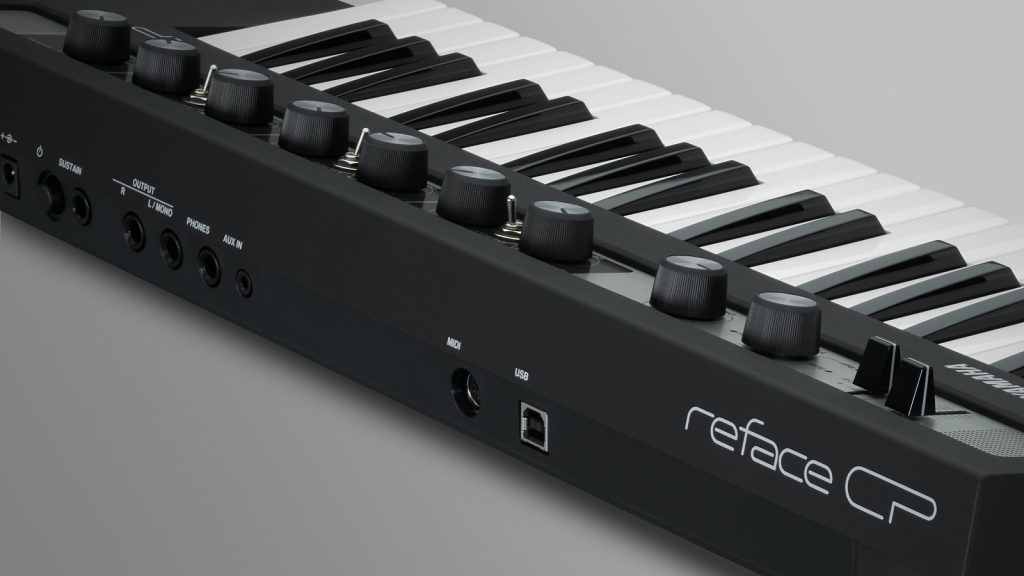 The connections of the Yamaha Reface CP: stereo output, AUX input (mini jack), sustain pedal, USB-to-host, headphones (image source: Yamaha)