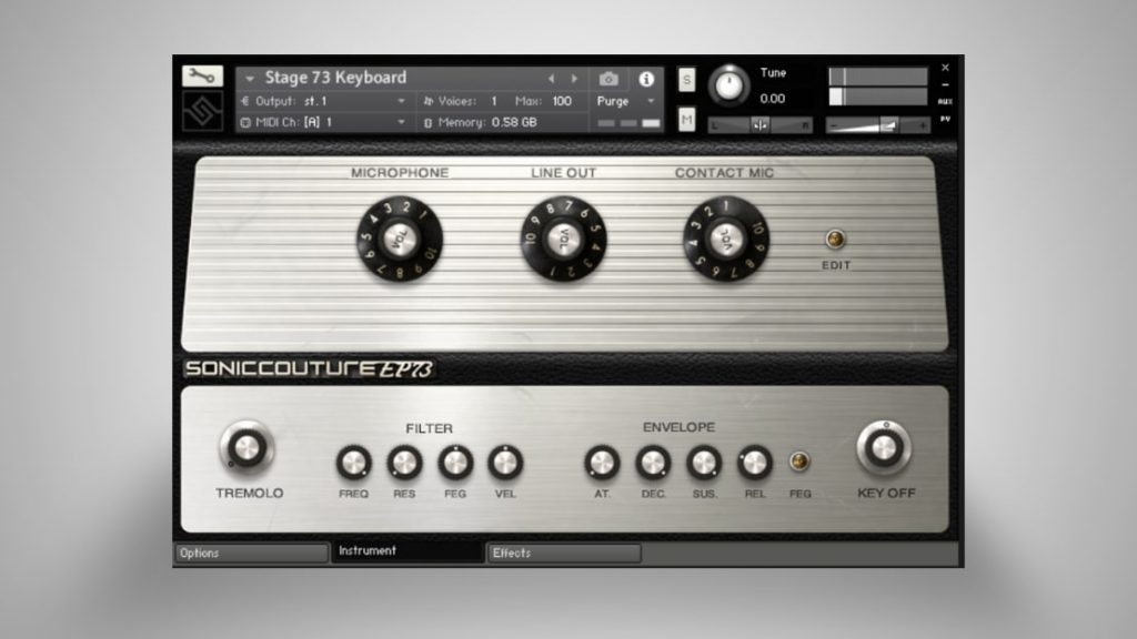 In der Instrument-Ansicht lassen sich die Sounds frei gestalten mit Filter, Envelope und Klanganteilen. Sehr gut klingt übrigens der Tremolo-Effekt. Außerdem ist es möglich die Key-Off-Sounds unabhängig zu regeln.