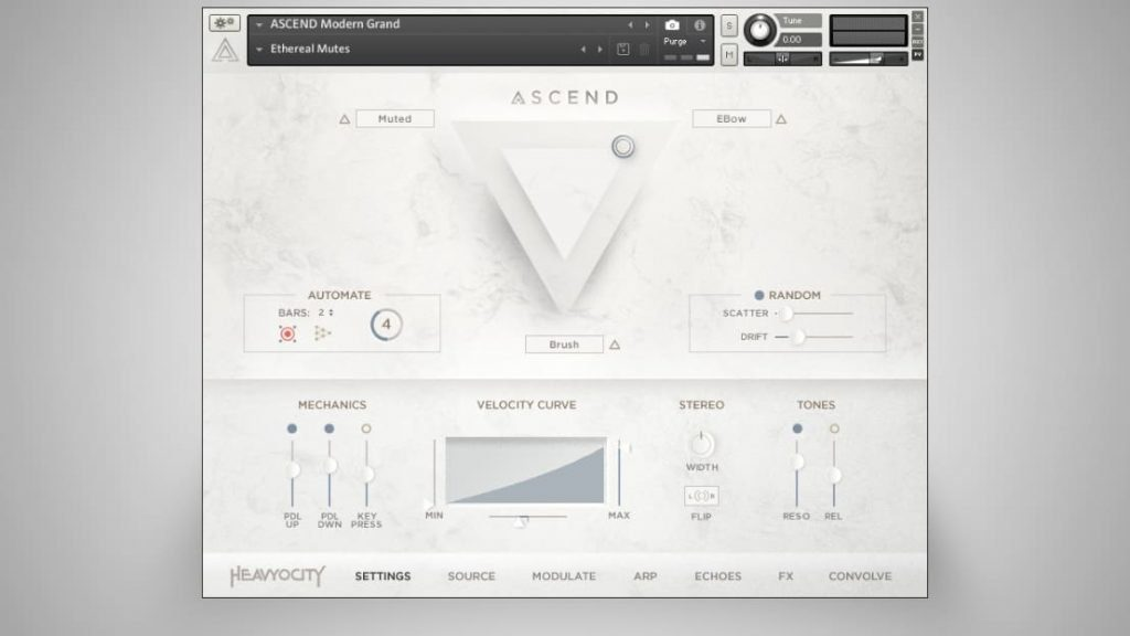 Heavyocity ASCEND Modern Piano - GUI