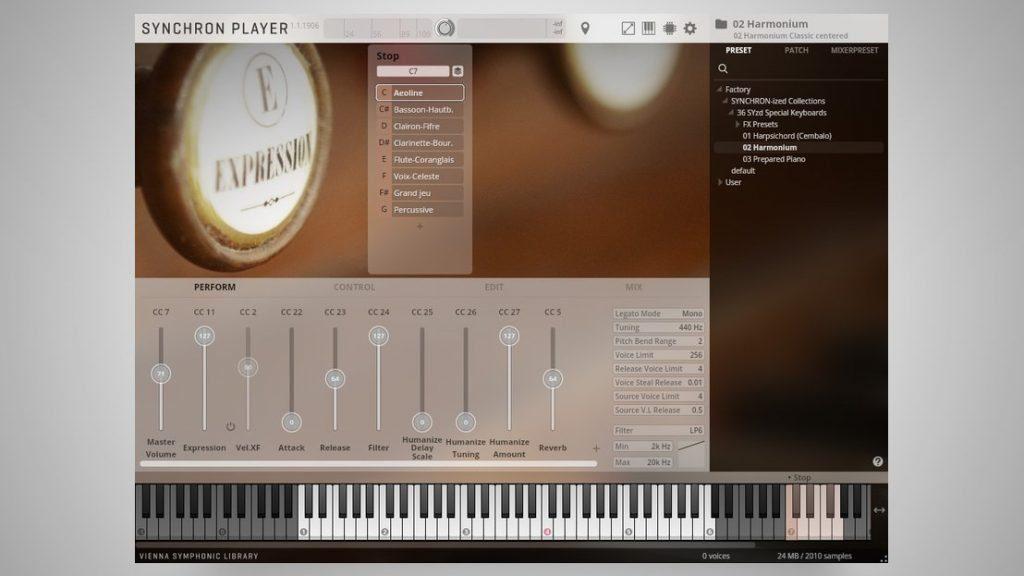 Die wichtigsten Funktionen auf einen Blick gibt es in der Hauptübersicht des Instruments. Die Darstellungsgröße des Synchron Players kann bei Bedarf angepasst werden.