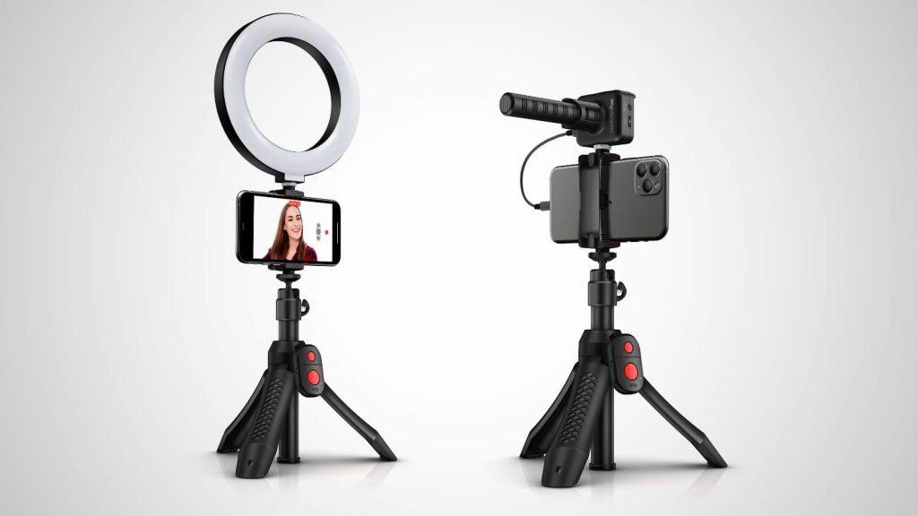 Das iKlip Grip Pro kann als Stativ oder auch als Selfie-Stick flexibel eingesetzt werden. Dank zusätzlicher Schraube in der Halterung kann es noch weiteres Equipment aufnehmen wie z.B. das USB-Ringlicht oder das iRig Mic Video (nicht im Bundle enthalten). Bildquelle: IK Multimedia