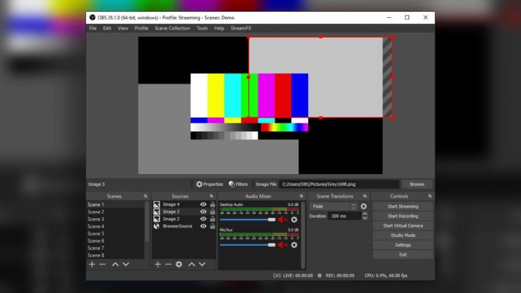 Kleines Fernsehstudio für Internet-Streaming - dank VirtualCam-Mode auch in Verbindung mit Videochat-Programmen: Open Broadcaster Studio gibt's kostenlos für Windows, MacOS und Linux.